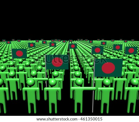 Crowd of abstract people with many Bangladeshi flags 3d illustration