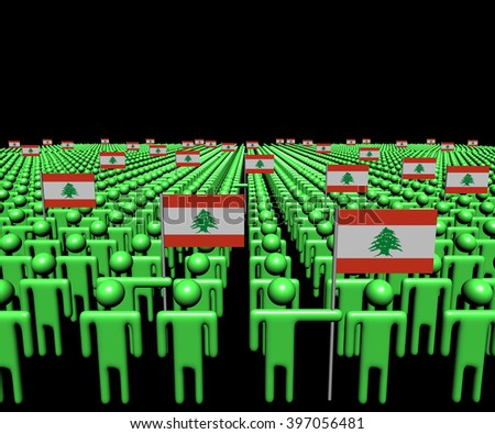 Crowd of abstract people with many Lebanese flags illustration