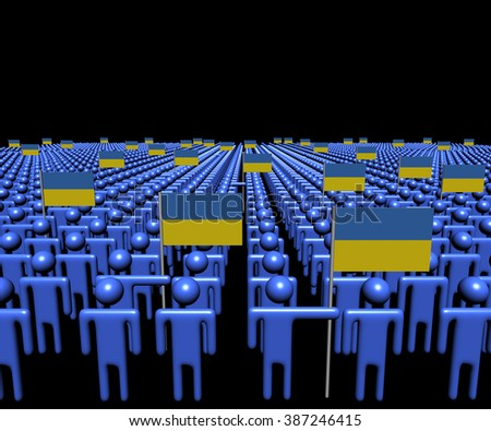 Crowd of abstract people with many Ukraine flags illustration