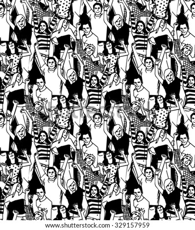 Crowd of active happy people black and white seamless pattern illustration. Vector illustration. EPS 8 - stock photo