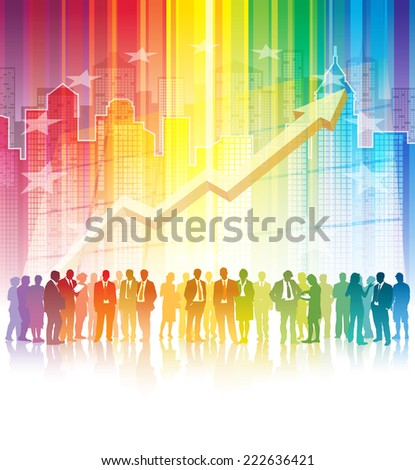 Crowd of businesspeople standing over a city in a colorful background - stock photo