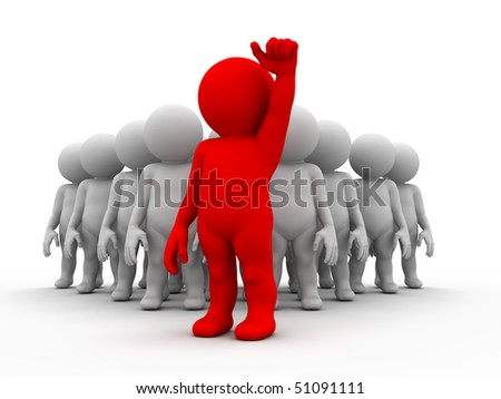 crowd of characters and one of them stand ahead of - stock photo