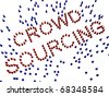 Crowd of figures forming text - crowd sourcing concept - stock photo