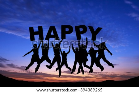 """Crowd of friends jumping with """"HAPPY"""" on blue sky background - stock photo"""