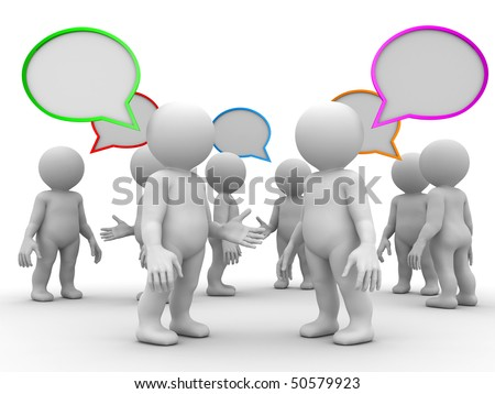 crowd of  humans with empty chat bubbles - stock photo