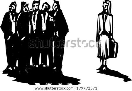 Crowd of men in business suits excluding a woman with briefcase. - stock photo