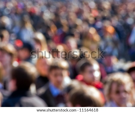 Crowd of people at the street - stock photo