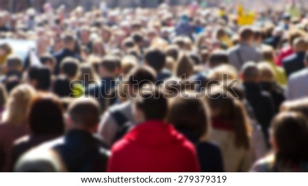Crowd of people at the street, city center  - stock photo