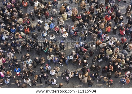 Crowd of people from above - stock photo