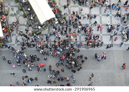 Crowd of People from Above Bird's Eye View - stock photo