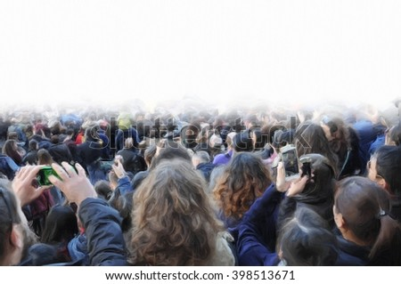 Crowd of people from the rear in painting style. - stock photo