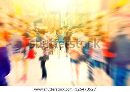 Crowd of people. Hurrying crowd of people on the street. Abstract motion picture. - stock photo
