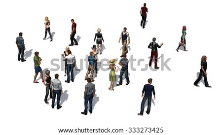 crowd of people isolated on white background