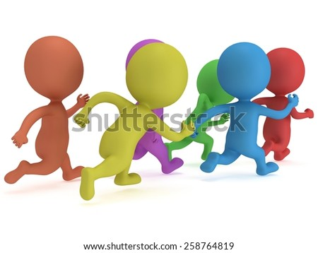 Crowd of people running. 3D render isolated on white. Chase, fitness, sport concept. - stock photo
