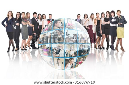 Crowd of people stands beside collage of diverse business people in sphere over white background