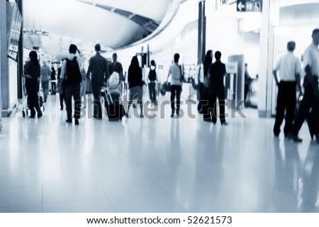 Crowd of people walking on street - stock photo