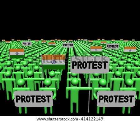 Crowd of people with protest signs and Indian flags 3d illustration