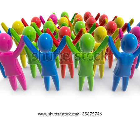 Crowd of people with raised hands - stock photo