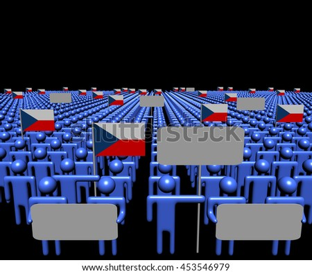 Crowd of people with signs and Czech flags 3d illustration - stock photo