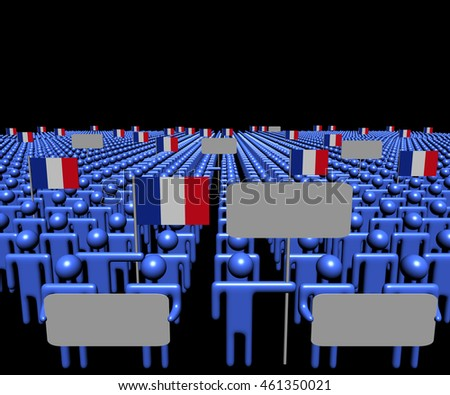 Crowd of people with signs and French flags 3d illustration