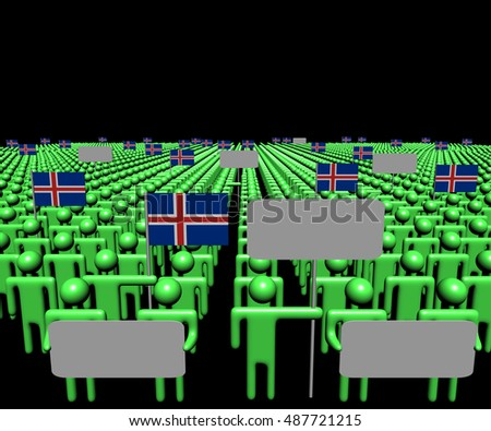 Crowd of people with signs and Icelandic flags 3d illustration