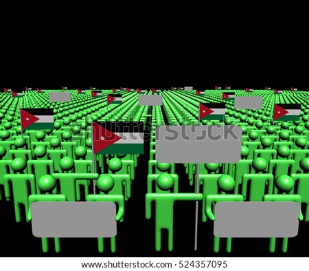 Crowd of people with signs and Jordanian flags 3d illustration