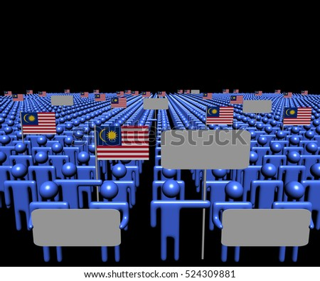 Crowd of people with signs and Malaysian flags 3d illustration