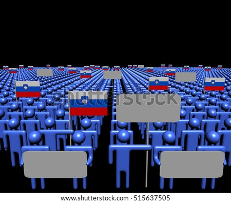 Crowd of people with signs and Slovenian flags 3d illustration