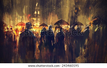 crowd of people with umbrellas at night,digital painting