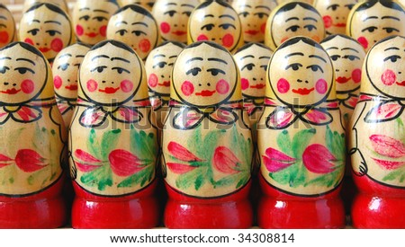 Crowd of Russian nesting dolls - stock photo