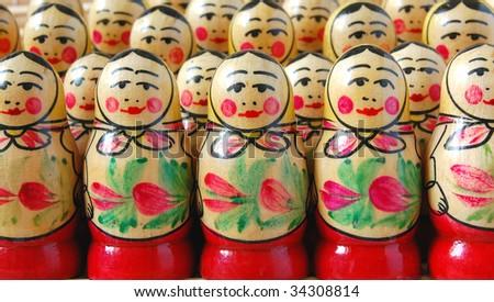Crowd of Russian nesting dolls - stock photo