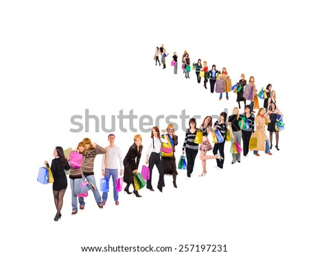 Crowd of Shoppers Buying Things  - stock photo