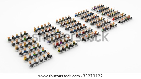 Crowd of small symbolic 3d computer user figures, isolated - stock photo