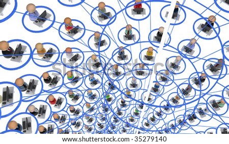 Crowd of small symbolic 3d computer user figures linked by lines, isolated - stock photo