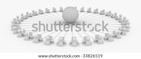 Crowd of small symbolic 3d figures connected to the internet, isolated - stock photo