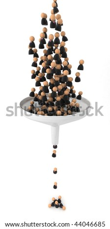Crowd of small symbolic 3d figures falling through a funnel, isolated - stock photo
