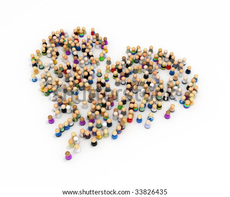 Crowd of small symbolic 3d figures forming a heart, isolated - stock photo