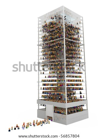 Crowd of small symbolic 3d figures in a building, over white, isolated - stock photo