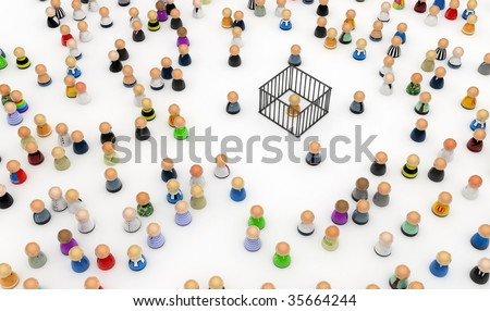 Crowd of small symbolic 3d figures, isolated - stock photo