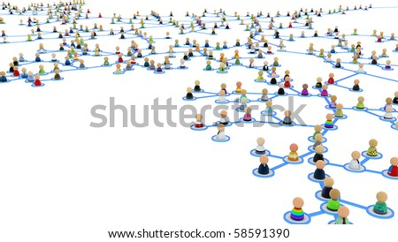 Crowd of small symbolic 3d figures linked by lines - stock photo
