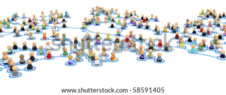 Crowd of small symbolic 3d figures linked by lines