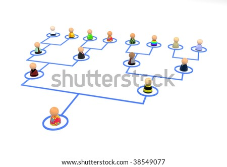 Crowd of small symbolic 3d figures linked by lines, isolated - stock photo