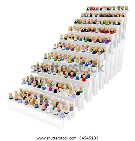 Crowd of small symbolic 3d figures on stair steps, isolated - stock photo