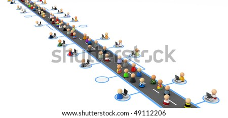 Crowd of small symbolic 3d figures, over white - stock photo