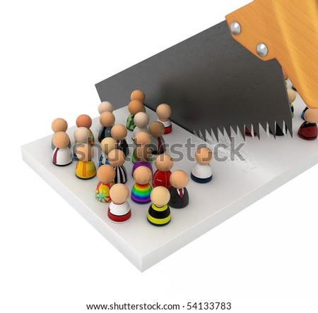 Crowd of small symbolic 3d figures, over white
