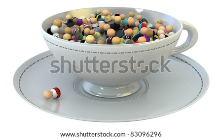 Crowd of small symbolic 3d figures, over white, isolated - stock photo