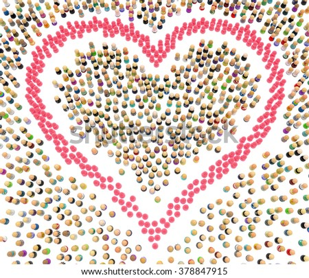 Crowd of small symbolic 3d figures, pink heart shape, over white - stock photo