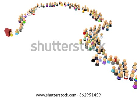 Crowd of small symbolic 3d figures, with booth, over white - stock photo