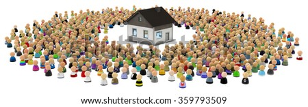 Crowd of small symbolic 3d figures, with house, over white
