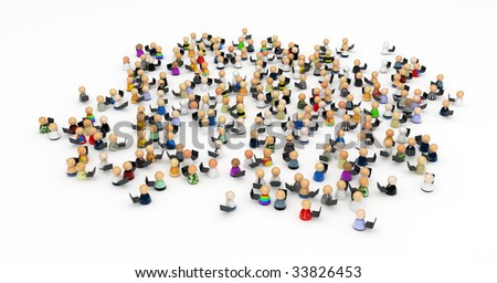 Crowd of small symbolic 3d figures with laptops, isolated - stock photo